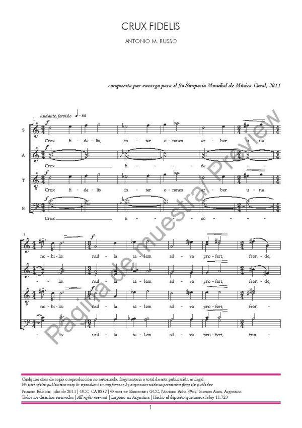 Crux fidelis (Antonio Russo - coro mixto)